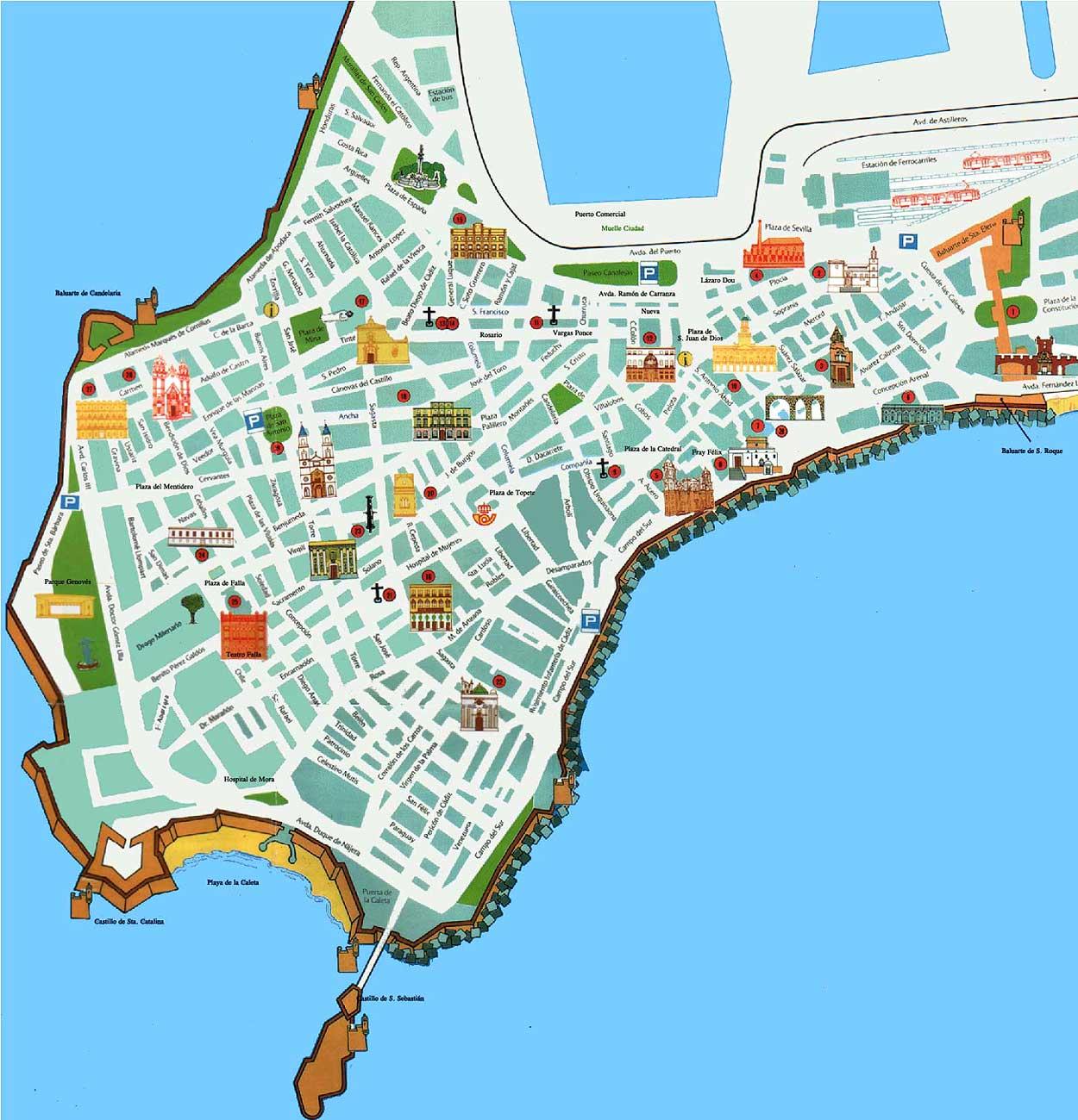 Mapa de c diz per metro urbano for Piscina ciudad de cadiz