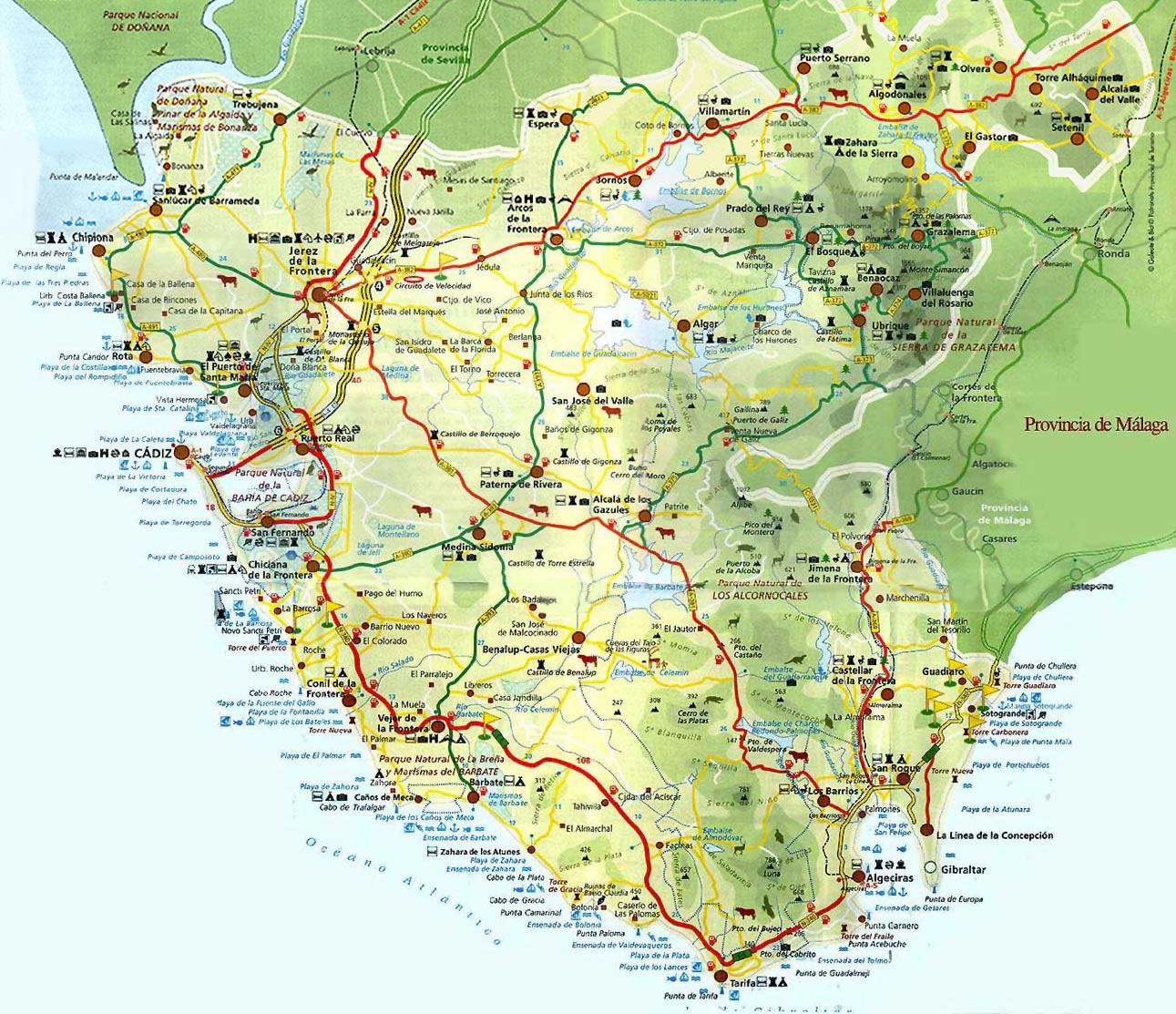 cadiz mapa Mapa de la Provincia de Cadiz cadiz mapa